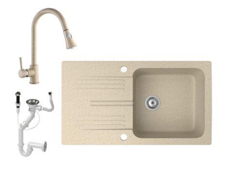 Gránit mosogató NERO Malta + kihúzható zuhanyfejes Snake csaptelep + dugókiemelő (bézs)