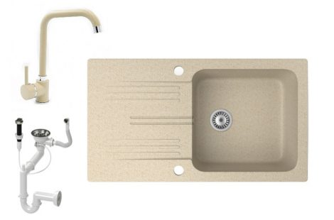 Gránit mosogató NERO Malta + Steel csaptelep + dugókiemelő (bézs)