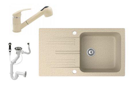 Gránit mosogató NERO Malta + kihúzható zuhanyfejes Shower csaptelep + dugókiemelő (bézs)