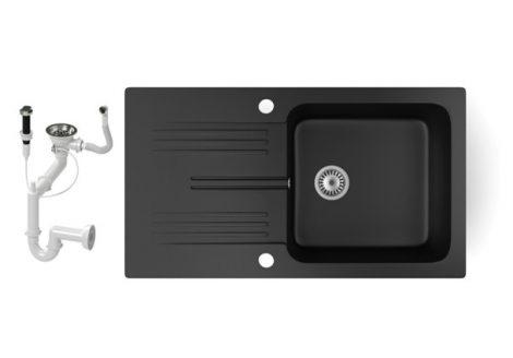 Gránit mosogató NERO Malta + dugókiemelő (matt fekete)