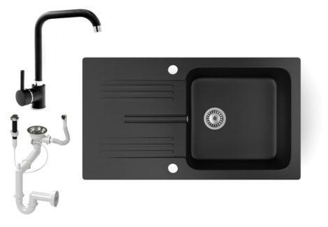 Gránit mosogató NERO Malta + Steel csaptelep + dugókiemelő (matt fekete)