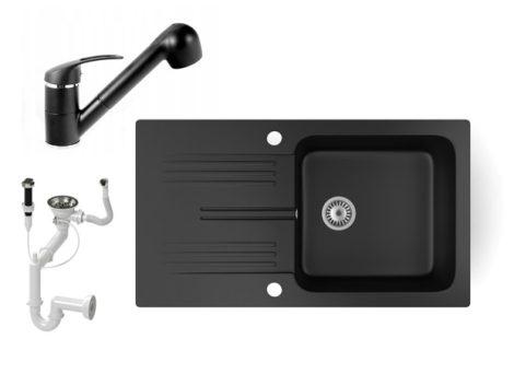 Gránit mosogató NERO Malta + kihúzható zuhanyfejes Shower csaptelep + dugókiemelő (matt fekete)