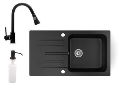 Gránit mosogató NERO Malta + kihúzható zuhanyfejes Snake csaptelep + adagoló (matt fekete)
