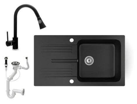 Gránit mosogató NERO Malta + kihúzható zuhanyfejes Snake csaptelep + dugókiemelő (matt fekete)