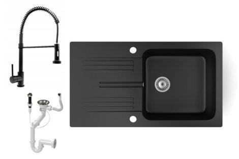 Gránit mosogató NERO Malta + kihúzható zuhanyfejes Loop Spiral csaptelep + dugókiemelő (matt fekete)