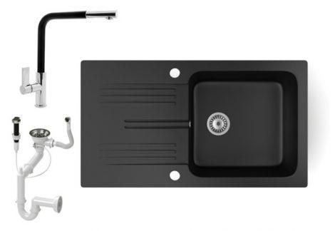 Gránit mosogató NERO Malta + kihúzható Linea csaptelep + dugókiemelő (matt fekete)