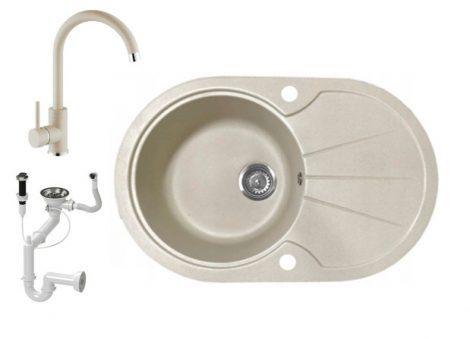 Gránit mosogató NERO Provence + magasított csaptelep + dugókiemelő (bézs)