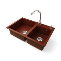 Gránit mosogatótálca NERO Palazzo + magasított króm csaptelep + adagoló (piros)