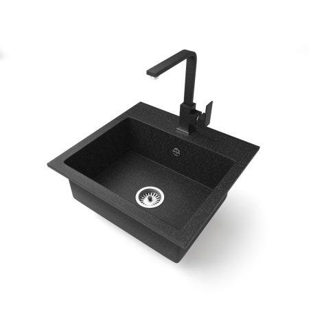 Gránit mosogató NERO Uno + Design csaptelep (fekete)