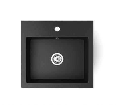 Gránit mosogató NERO Uno + szifon (matt fekete)