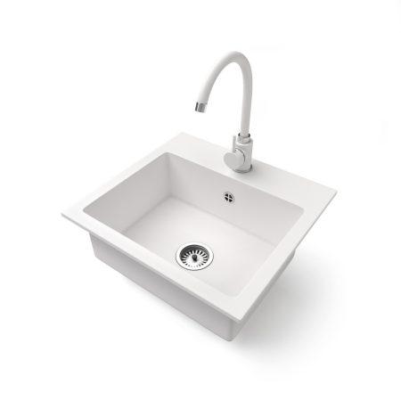 Gránit mosogató NERO Uno + magasított csaptelep (fehér)