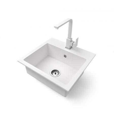 Gránit mosogató NERO Uno + Design csaptelep (fehér)