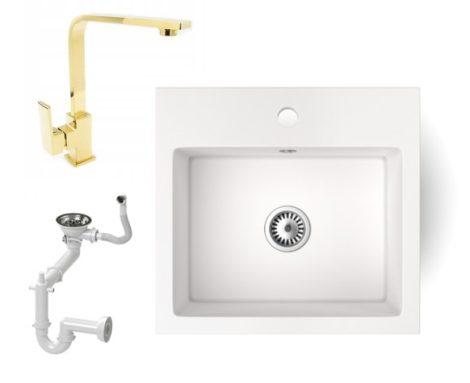 Gránit mosogató NERO Uno + Design Gold csaptelep (fehér)