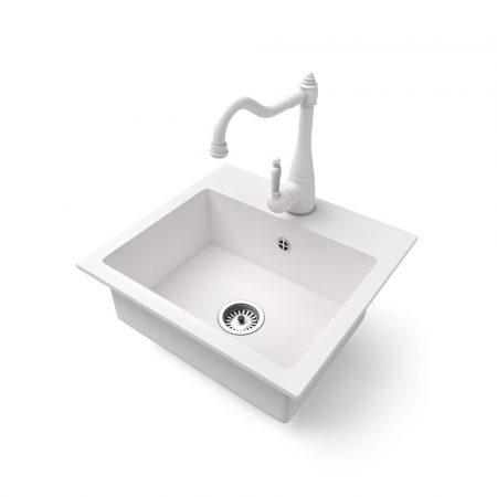 Gránit mosogató NERO Uno + rusztikus csaptelep (fehér)