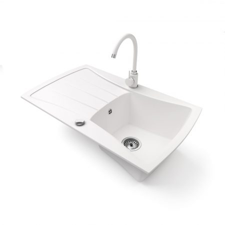 Gránit mosogatótálca NERO Venezia + magasított csaptelep + dugókiemelő (fehér)
