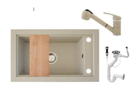 Panama P686-427B Gránit Mosogató + Kihúzható Shower Csap + Dugóemelő + Deszka + Szifon (bézs)