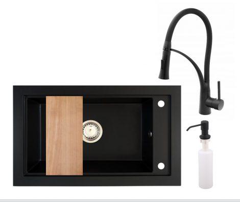Panama P686-427C Gránit Mosogató + Duo-Flex Csaptelep + Adagoló + Deszka + Szifon (matt fekete)