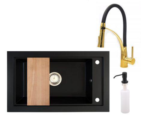 Panama P686-427CM Gránit Mosogató + Duo-Flex Arany Csaptelep + Adagoló + Deszka + Szifon (matt fekete)
