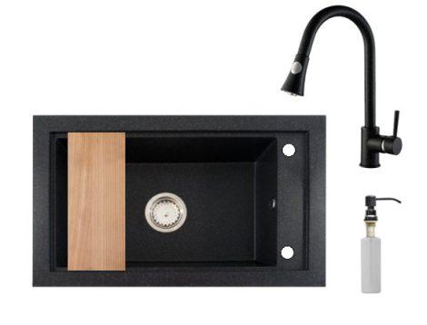 Panama P686-427C Gránit Mosogató + Kihúzható Csap + Adagoló + Deszka + Szifon (fekete)
