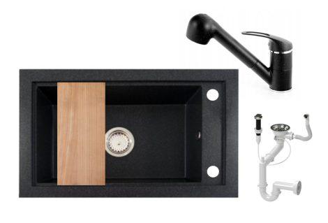 Panama P686-427C Gránit Mosogató + Kihúzható Shower Csaptelep + Deszka + Dugóemelő (szemcsés fekete)