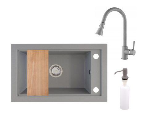 Panama P686-427S Gránit Mosogató + Kihúzható Zuhanyfejes Csap + Adagoló + Deszka + Szifon (szürke)