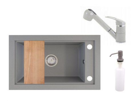 Panama P686-427S Gránit Mosogató + Kihúzható Shower Csap + Adagoló + Deszka + Szifon (szürke)