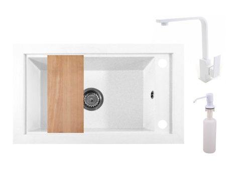 Panama P686-427W Gránit Mosogató + Design Csap + Adagoló + Deszka + Szifon (fehér)
