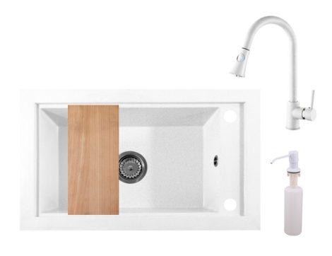 Panama P686-427W Gránit Mosogató + Kihúzható Zuhanyfejes Csap + Adagoló + Deszka + Szifon (fehér)