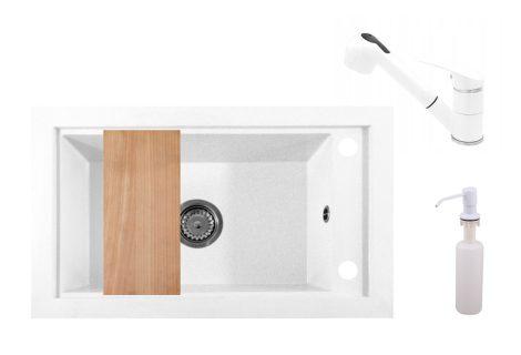 Panama P686-427W Gránit Mosogató + Kihúzható Shower Csap + Adagoló + Deszka + Szifon (fehér)