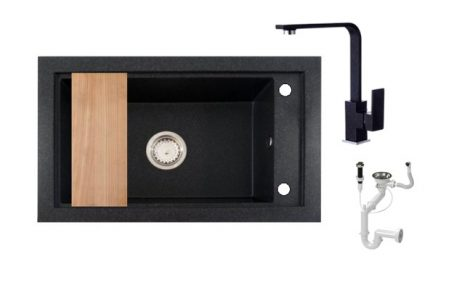 Panama P686-427C Gránit Mosogató + Design Csap + Deszka + Dugóemelő (fekete)