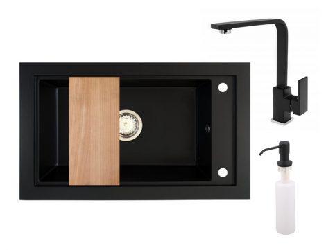 Panama P686-427CM Gránit Mosogató + Design Csap + Adagoló + Deszka + Szifon (matt fekete)
