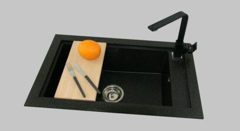 Panama P686-427C Gránit Mosogató + Design Csap + Adagoló + Deszka + Szifon (fekete)