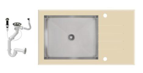 NERO 86-50B-A Edzett Üveg Mosogató + dugóemelő (bézs-inox)