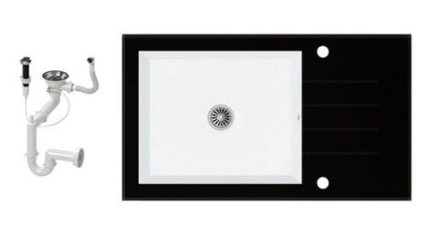 NERO 86-50C-BI Edzett Üveg Mosogató + dugóemelő (fekete-fehér)