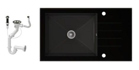 NERO 86-50C-C Edzett Üveg Mosogató + dugóemelő (fekete)