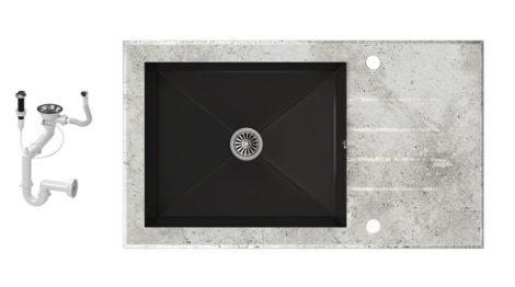 NERO 86-50E-C Edzett Üveg Mosogató + dugóemelő (beton - fekete)