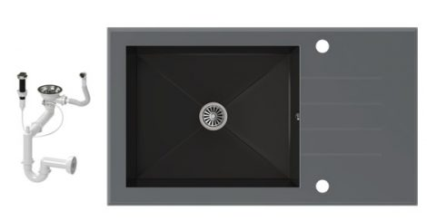 NERO 86-50S-C Edzett Üveg Mosogató + dugóemelő (szürke - fekete)