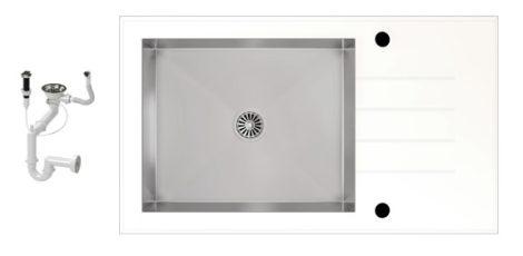 NERO 86-50W-A Edzett Üveg Mosogató + dugóemelő (fehér - inox)