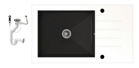 NERO 86-50W-C Edzett Üveg Mosogató + dugóemelő (fehér-fekete)