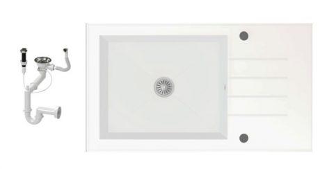 NERO 86-50W-W Edzett Üveg Mosogató + dugóemelő (fehér)