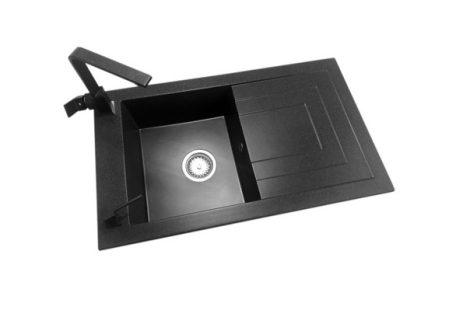 Laveo Jawa Gránit mosogató + Design csaptelep + Szögletes adagoló (fekete - szemcsés)