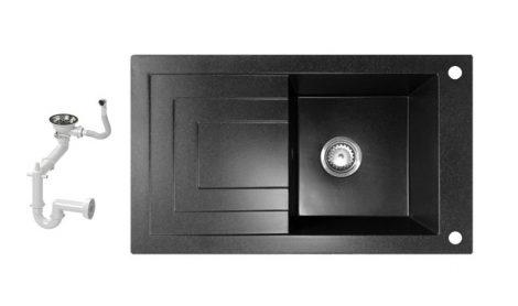NERO Cortina Gránit mosogató + Szifon (fekete)