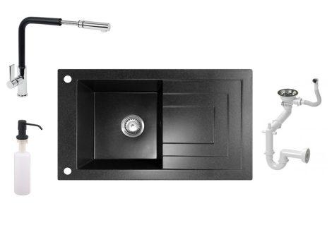 NERO Cortina Gránit mosogató + Kihúzható csaptelep + Adagoló (fekete - szemcsés)