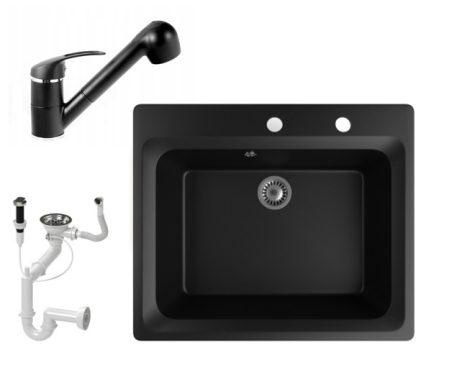 Gránit mosogató NERO Italia + kihúzható Shower csaptelep + dugóemelő (matt fekete)