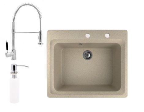 Gránit mosogató NERO Italia + zuhanyfejes Spiral-1 csaptelep + adagoló (bézs)