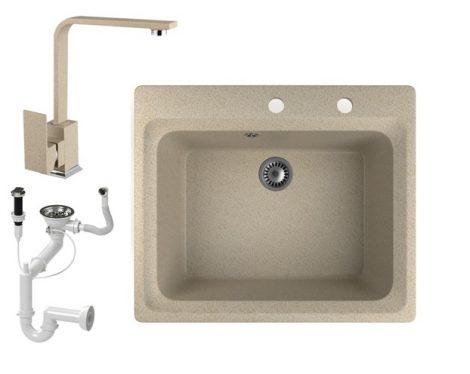 Gránit mosogató NERO Italia + Design csaptelep + dugóemelő (bézs)