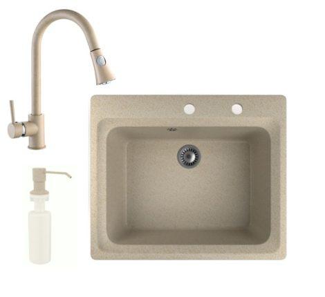 Gránit mosogató NERO Italia + kihúzható zuhanyfejes Snake csaptelep + adagoló + (bézs)