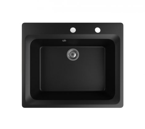 Gránit mosogató NERO Italia + szifon készlet (matt fekete)