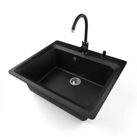 Gránit mosogató NERO Italia + magasított csaptelep + adagoló (matt fekete)