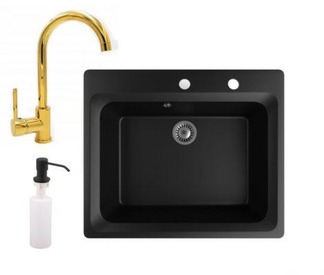 Gránit mosogató NERO Italia + magasított arany csaptelep + adagoló (matt fekete)